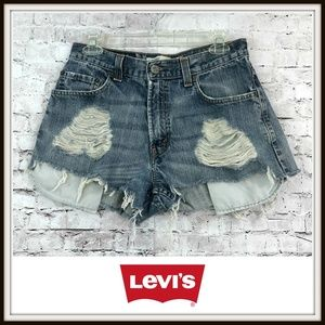 Levi's 369 Loose Straight Distressed Jean Shorts